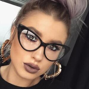 Womens Black Hot Fashion Clear Lense Nerd Geek Glasses Retro Cat Eye Style