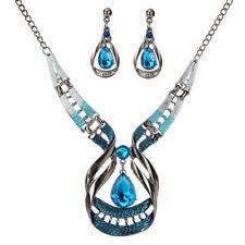 Women Crystal Choker Chunky Chain Pendant Bib Statement Necklace Earrings Set