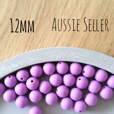 10 LAVENDER 12mm SILICONE beads round BPA free baby teeth safe nursing purple