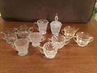 Lot of 5 ANTIQUE VINTAGE GLASS SUGAR BOWL & CREAMER SETS Fostoria Duncan Miller