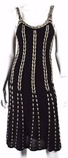 TEMPERLEY LONDON Black & Champagne Gold Striped Knit Dress 8 12UK