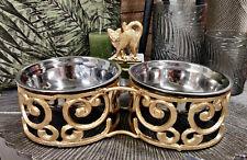 Clayre & Eef goldfarbender  Katzennapf  Doppelnapf