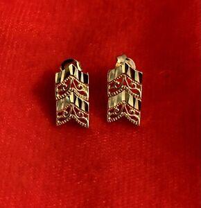 14k Yellow Gold Diamond Cut Filigree Post Pierced Earrings Approx. 2.4g