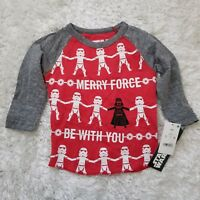 Disney Star Wars Holiday Christmas Infant boys Long Sleeves Merry Force 12M 2T