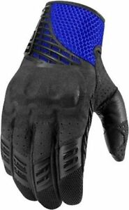 Icon Sanctuary Leather Gloves Stealth Black Blue Green Red Motorcycle Riding