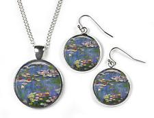 WATERLILIES Claude Monet- Set: Pendant, Chain & Earrings-Glass Picture Jewellery