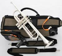 Customized Trumpet Horn Matt Silver Finish Great Sound With Pro case