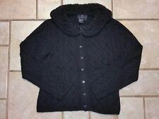 Carole Little Knitwear Black W/Wool Faux Fur Collar Cardigan Sweater Sz L #2288