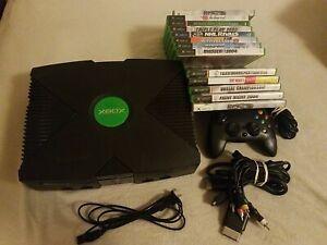 Microsoft Xbox Original Black Console System 13 Games, TESTED RaRe