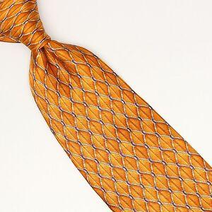 Jos A Bank Silk Necktie Tonal Gold White Diamond Check Print Made in Italy