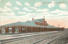 Eau Claire Wisconsin~Train Tracks in Front of Omaha Railroad Depot~1908 PC