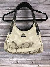 Coach Signature Shoulder Hobo Maggie Khaki Beige Sateen Fabric Bag  H1173-18762