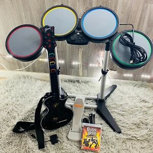 PS3 Guitar Hero Game Guitar With Dongle Wired Drums Pedal And Microphone Bundle