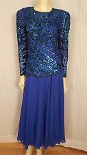 Oleg Cassini Beaded Blue Formal Evening skirt set size Med Blouse and sz 8 skirt
