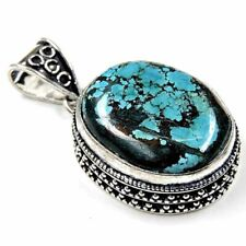 65.16Cts Natural Green Tibet Turquoise Silver Overlay Handmade Pendant 1.75""