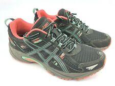 ASICS Women's Running Shoes GEL-Venture 5 Black Aqua Mint Flash Coral Sz 6.5 $45