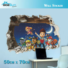3D Paw Patrol Wall Stickers Removable Broken Wall Kid Boy Girl Room Decal C