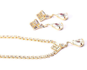 Gold Tone and Rhinestone Necklace and Earring set, Vintage 1950s