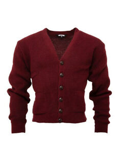 Relco Mens Burgundy Waffle Knit Button Front Cardigan Retro 60s Vintage Mod