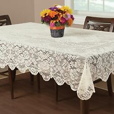 "Buckingham Lace Tablecloth Ivory 60X102"" Wedding Floral Vintage Home Table Decor"