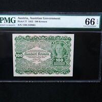 1922  Austria 100 Kronen Pick # 77, PMG 66 EPQ Gem Unc. High Grade.