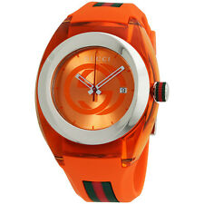 New Gucci YA137108 Sync Orange Dial Silicone Strap Unisex Watch