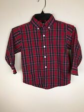 Gymboree Boys Dress Shirt XS 3-4 Red Tartan Plaid Button Down Red Green Black