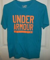Under Armour Loose Heat Gear Boys Size M Blue Short Sleeve T- Shirt  EUC