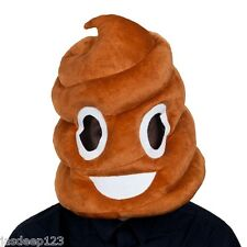 Poop Face Big Mascot Head Fancy Dress Mask Funny Hat Adult Joke Brown Emoji