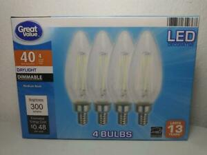 4 PACK LED 40W = 4W Candelabra Daylight Dimmable 40 Watt Equivalent 5000K bulb