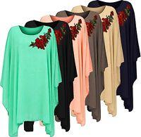 New Ladies Chiffon Roses Oversize Batwing Tunic Top Blouse Dress Plus Size 8-26