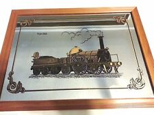 """Wood Framed Mirror of the Argus Locomotive / Train - 16.5"""" by 12.5"""""""