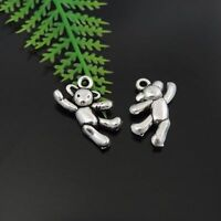 40PCS Antique Silver Tone Alloy Little Bear Charms Pendant Jewelry 20*10*4mm