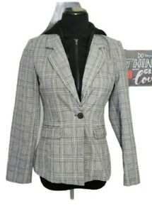 Grey Black Plaid 2-In-1 Fitted Blazer Size XS Hooded Collared Zip Closure