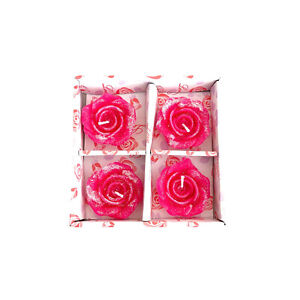 FLOATING CANDLES 4 PACK ROSE GLITTER 4 HOUR BURN TIME DECOR WEDDING EVENTS HOME