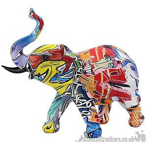 Graffiti Art bright coloured Elephant Calf ornament figurine Elephant lover gift