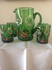 Anzolo Fuga Murano Glass Pitcher And 4 Drinking Glasses - Grotesque Cca. 1948