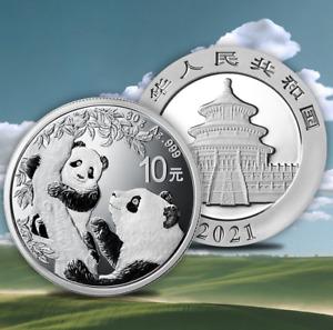 2021China Silver Panda coin 30 gram .999 Fine 10 Yuan Chinese in Capsule