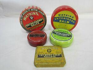 5 Vintage Watkins Salve and Laxative Tins