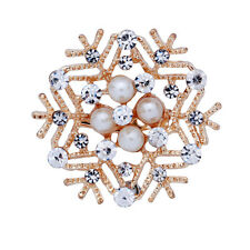 Gold Plated Prom Lady Bridal Brooch Pin Snow Faux Pearl Crystal Gem New Gift
