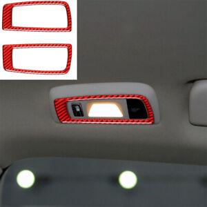 2x Red Carbon Fiber Rear Reading Lamp Sticker Trim For Porsche Panamera 2010-16