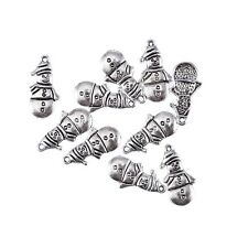 10pcs snowman winter Tibetan Silver Bead charms Pendants fit DIY 25*12mm