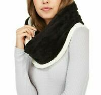 DKNY Womens One Size Fleece Lined Knit Infinity Scarf Cream Black DY4908