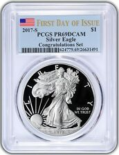 2017-S $1 American Silver Eagle Congratulations Set PCGS PR69DCAM First Day - BL