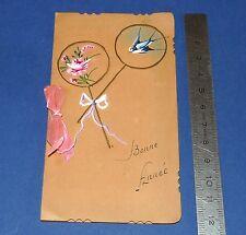 CHROMO 1930 CARTE DE VOEUX BONNE ANNEE PEINTE A LA MAIN RUBAN ROSE HIRONDELLE