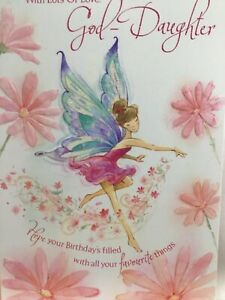 Lovely Sparkly Goddaughter Birthday Card - All your Favourite things with Fairy