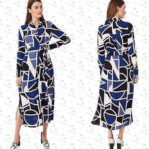 New Hobbs London Nadine Abstract Geo Print Midi Shirt Belted Dress RRP £159 8-16