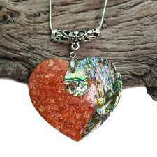 Red And Blue Abalone And Coral Shell Heart Pendant Necklace