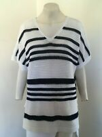 GREAT!! White & Navy Striped Short Sleeved Jumper - By Knitwear F&F  - Size 18