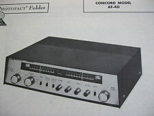 CONCORD AF-40 TUNER RECEIVER PHOTOFACTS PHOTOFACT
